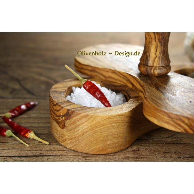 salzspender doppel spender aus olivenholz gew rzschale holz 19. Black Bedroom Furniture Sets. Home Design Ideas
