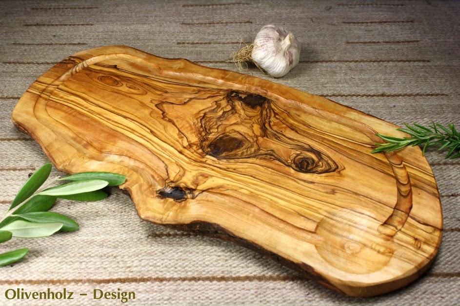 Tranchierbrett aus Olivenholz mit Saftrille c